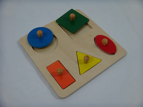 Geometric 5 Shape Puzzle Board - Small Size - Geometric 5 Shape Puzzle Board - Small Size