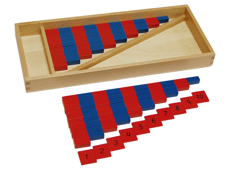 Small Number Rods With Tiles in Timber Box - Small Number Rods With Tiles in Timber Box