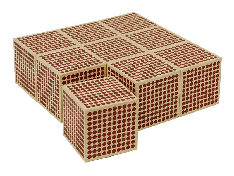 Wooden Cubes of 1000: set of 9 - Wooden Cubes of 1000: set of 9