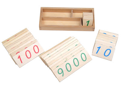 Small Number Cards 1-9000, Wood -