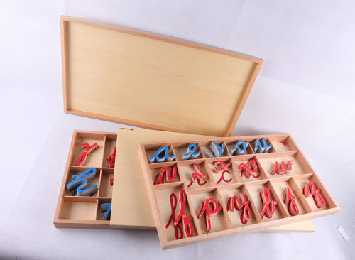 Movable Alphabet Large Cursive in 2 Boxes - Montessori Movable Alphabet Large Cursive
