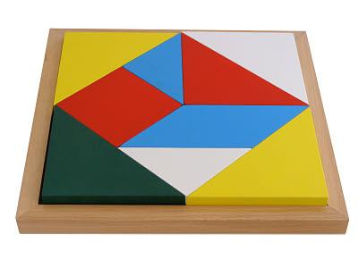 Geometric Shape Square Puzzle Tray -