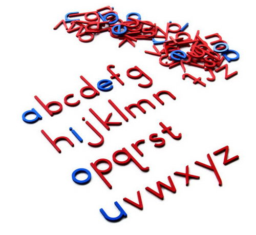 Movable Alphabet - Small Print Red C Blue V - Movable Alphabet - Small Print Red C Blue V