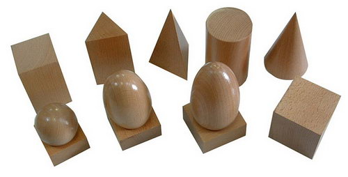 Geometric Solids and 3 stands - Natural Timber Finish (No Box) - Geometric Solids- Natural