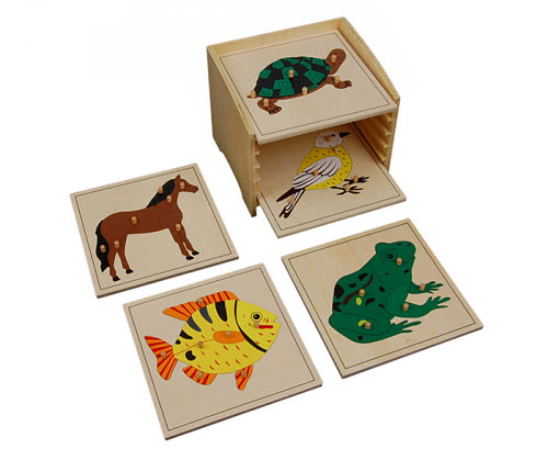Animal Puzzle Cabinet with 5 Puzzles - Animal Puzzle Cabinet with 5 Puzzles