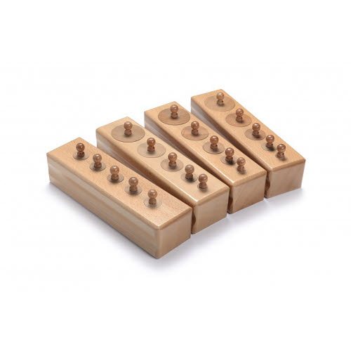 Knobbed Cylinder Blocks Set - Sml (5 cyl each block) Beechwood - Mini Knobbed Cylinders - Beechwood