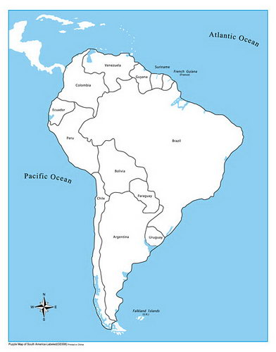 Control Map Labelled - South America - Control Map Labelled - South America