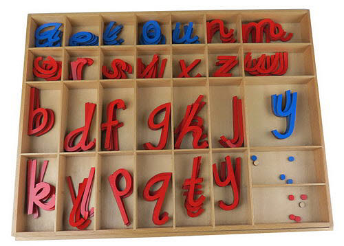Movable Alphabet Medium Large D'Nealian RcBv (No Box) - Montessori Movable Alphabet Medium Large D'Nealian