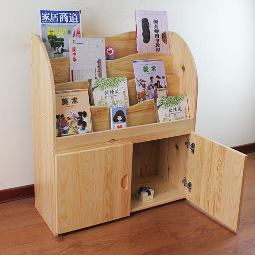 Library Book Shelf in Solid Pinewood - Toddler Book shelf Solid Pine Wood