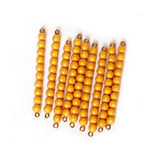 Golden Bead Bars of Ten, Individual Beads x 9 -