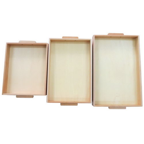 Wooden Tray with Handles - Set of 3 - Wooden Tray with Handles - Set of 3