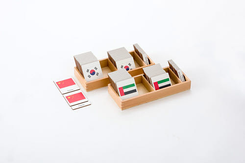 Classification 3 Part Timber Cards - Asian Flags -