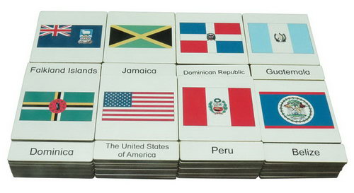 Classification 3 Part Timber Cards - USA Flags -