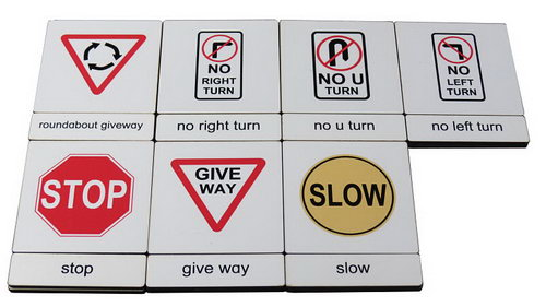 Classification 3 Part Timber Cards - Traffic Signs  No1 -