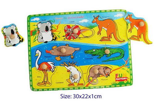 Puzzle W/Knobs - Australian Animals -