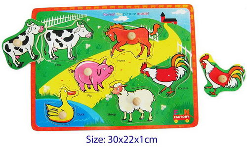 Farm Animals - Puzzle with Knobsh - Farm Animals - Puzzle with Knobsh