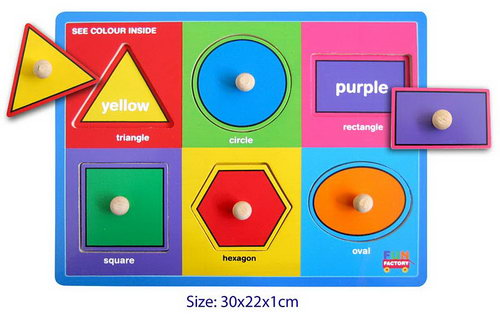 Puzzle w/knobs - Shapes -