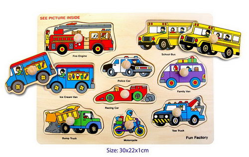 Puzzle W/Knobs -Vehicles -