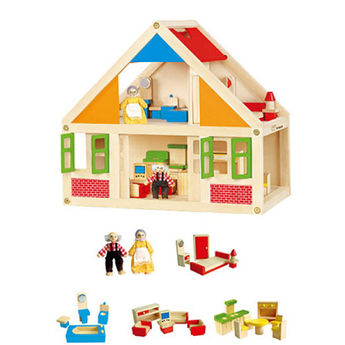 VG - Doll House with Furniture and 2 Dolls - VG - Doll House with Furniture and 2 Dolls
