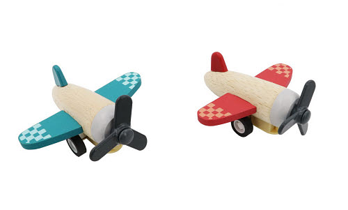CB Pull Back Wooden Plane in Red or Green - Retro Wooden Racing Car in Red or Green