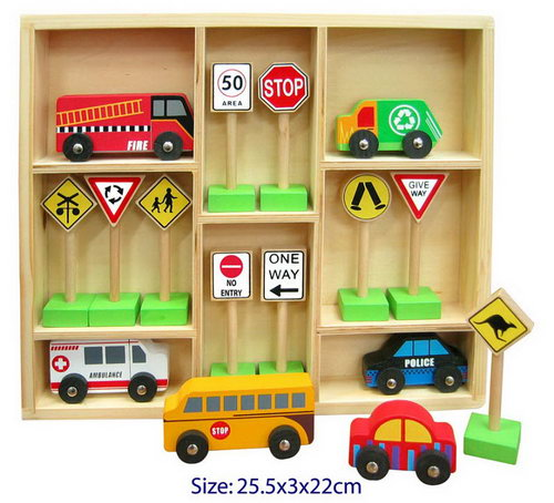 Car 6Pc W/10Pc Traffic Sign Set In Tray -