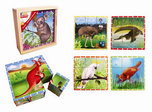 Cube Puzzle - Australian Animal in wooden box -