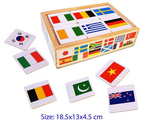 World Flag Wooden Memory Game - 48pcs - World Flag Wooden Memory Game