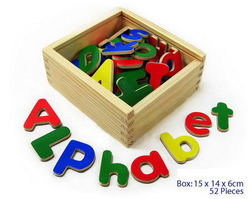 Magnetic Letters Upper/Lower Wood in Box -