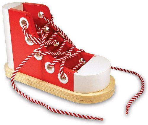M&D - Wooden Lacing Sneaker - Wooden Shoe Lacing Toy