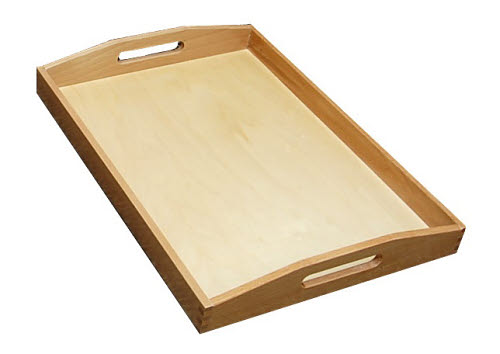 Wooden Tray with Cutout Handles - Large - Wooden Tray with Cutout Handles - Large