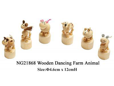 Wooden Dancing Farm Animal (each) -