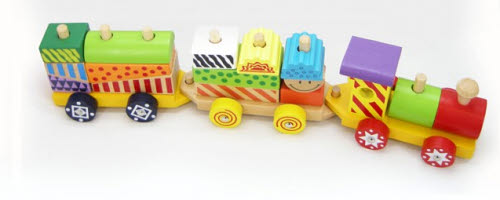 Colourful Wooden Block Train -
