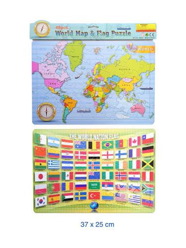 Jigsaw puzzle - World Flags & Map Set of 2 - Jigsaw puzzle - World Flags & Map Set of 2