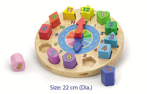 Clock with Shaped Block Puzzle - Wooden Block Clock (set)