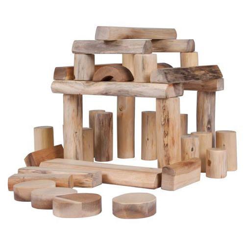 Natural Barkless Tree Blocks 42 Pcs - Natural Barkless Tree Blocks 42 Pcs