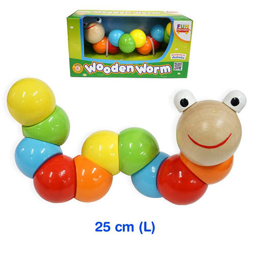 Wooden Wiggly Worm with 10 segments -