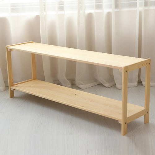 Montessori Toddler Open Sided 2 Shelf Unit in Pinewood - Montessori Toddler Open Sided 2 Shelf Unit in Pinewood