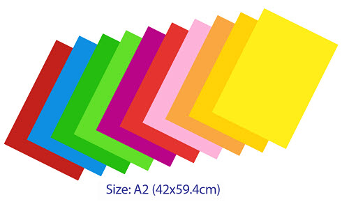 Coloured Board A2 size 25 sheets -