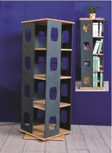 Tall Rotating Shelf Unit in Pinewood - Tall Rotating Shelf Unit in Pinewood