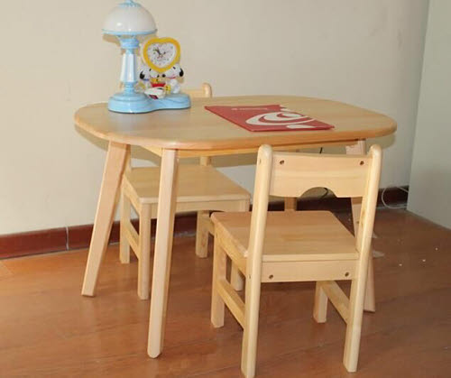 Table & 2 Chairs Set  A in Solid Pinewood -