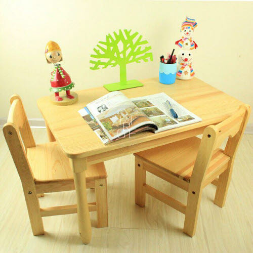 Table & 2 Chairs Set B in Solid Pinewood - Table & 2 Chairs Set B in Pinewood