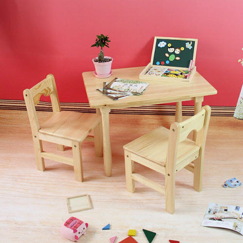 Table & 2 Chairs Set C in Solid Pinewood -