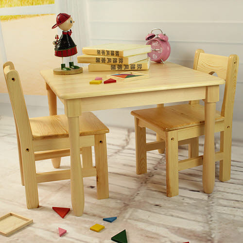 Table & 2 Chairs Set E in Solid Pinewood -