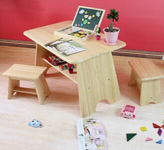 Table & 2 Stools Set F in Solid Pinewood -
