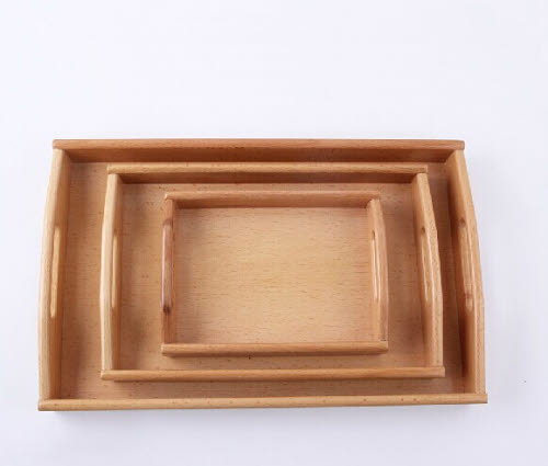Wooden Tray with Cut Handle Sleek Set of 3 - Wooden Tray with Cut Handle Sleek Set of 3
