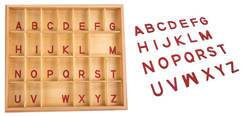 Movable Alphabet Capital Red Print with Box - Montessori Movable Alphabet Capital Print with Box