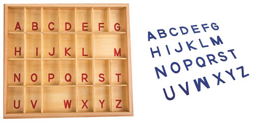 Movable Alphabet Capital Blue Print with Box - Montessori Movable Alphabet Capital Print with Box