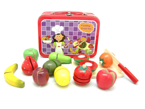 Cutting Wooden Fruit Set in Carry Case - Cutting Wooden Fruit Set in Carry Case
