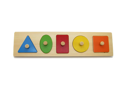 Geometric Shape Puzzle Board with Knobs (Factory Seconds) - Geometric Shape Puzzle Board with Knobs