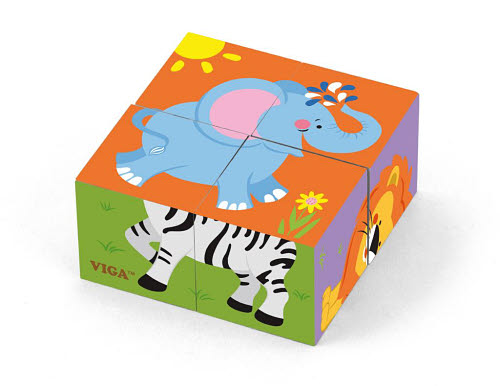 VG - Cube Puzzle 4pc 6 sided - Wild Animals - VG - Cube Puzzle 4pc 6 sided - Wild Animals